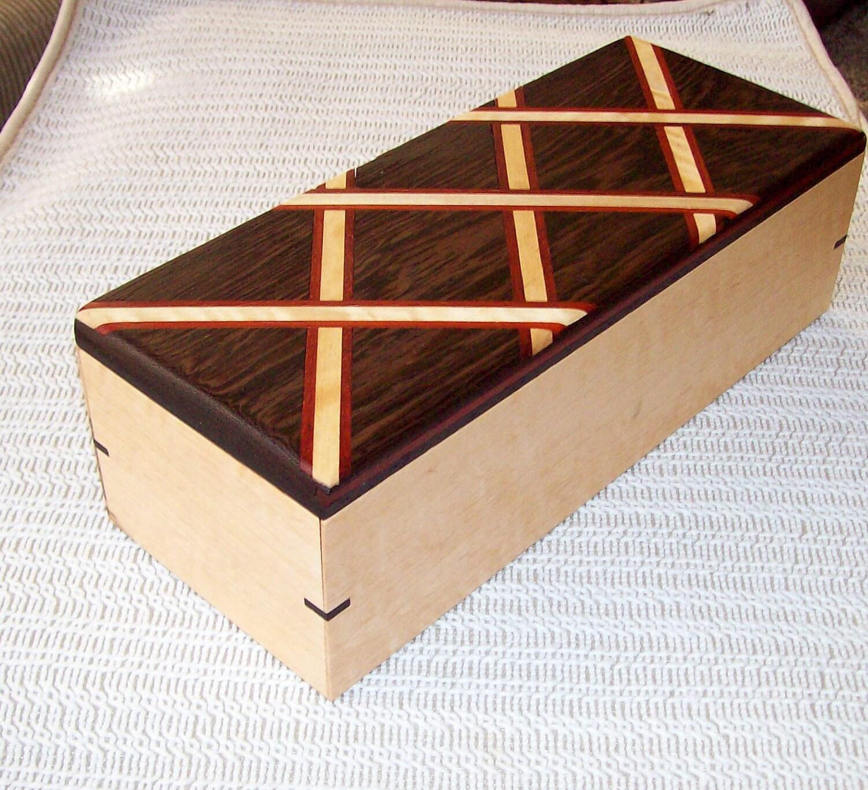 Wood Jewelry Box Diamond Pattern Inlay