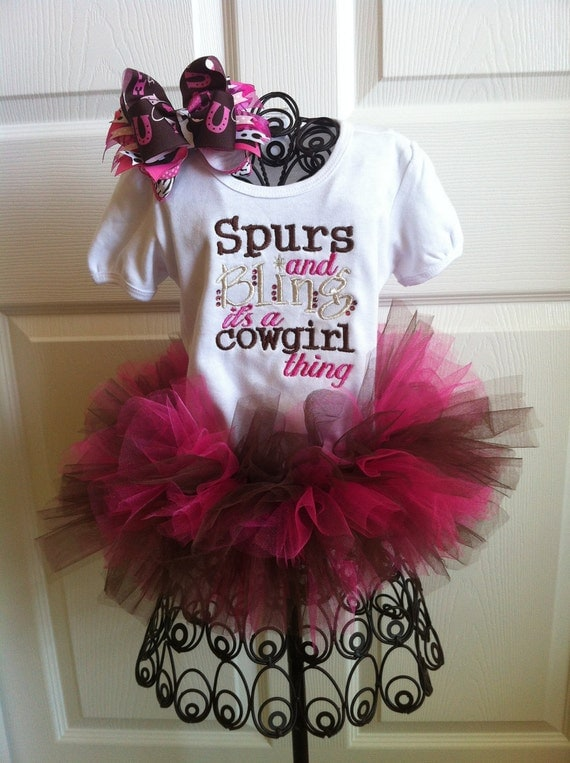 Spurs And Bling Cowgirl Set With Matching Shirt, Tutu, and Hair Bow 3T