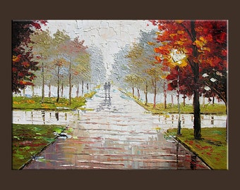 Misty Original Print Giclee Painting on canvas Modern Landscape painting Fog Park Street Rain City wall art home gift Milen