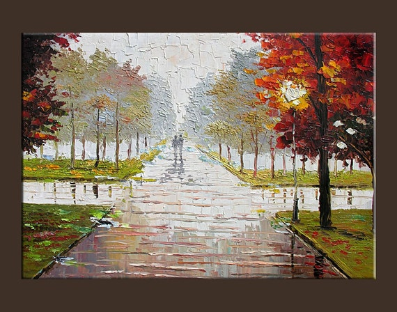 Misty Original Print Giclee Painting on canvas Modern Landscape painting Fog Park Street Rain City wall art home gift Milen