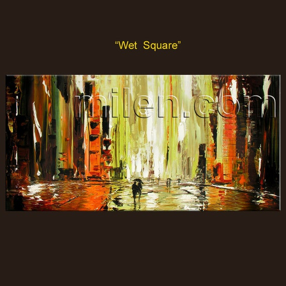 Wet Square 45 x 23 PRINT Giclee Original Painting Modern Cityscape Urban Street Rainy City Colorful Orange Downtown  by MILEN
