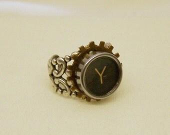 Vintage Antique Typewriter Ring with Gear - Adjustable unisex