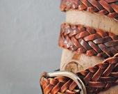 Vintage leather braided belt