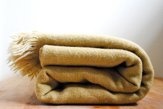 Vintage Mustard Kenwood Wool Throw