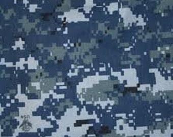 Usn Navy Blue Digital Camo Fabric By Lladybugscreations On