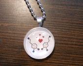 Happy Dopamine Molecules glass domed original art pendant necklace