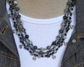 Picasso Jasper Shades of Black  to White 3 Strand Necklace Earrings Set