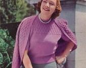 1940s Stitchcraft Large Sizes, plus sized knits-  Vintage Knitting Pattern booklet PDF