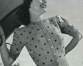 1940s knitting pattern 'Sue', puff sleeved cardigan with polka dots - vintage knitting pattern PDF (410)