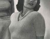 Sorority, women's twist-stitch lace top in three sizes, c.1942  - vintage knitting pattern PDF (430)
