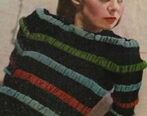1940s Striped and Ruched Jumper, from Stitchcraft Magazine WW2 era - vintage knitting pattern PDF (438)