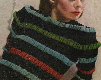 1940s Striped and Ruched Jumper, from Stitchcraft Magazine WW2 era - vintage knitting pattern PDF (438)