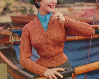 1950s fitted raglan cardigan, 34-36-38 in bust - Vintage Knitting Pattern PDF (502) Lee Target 1284