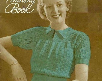 Early 1930s knitted lace jumper with garter yoke, c.1934 - Vintage Knitting Pattern PDF (308)
