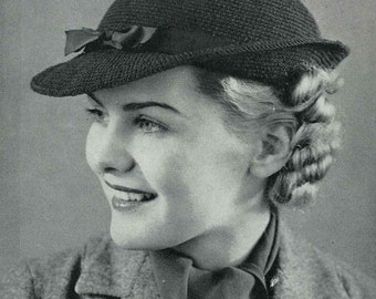 1930s Swagger Brimmed Hat, c. 1936 - vintage knitting crochet pattern PDF (316)