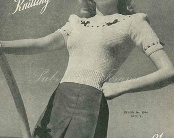 1940s Beach and Bows jumper - vintage knitting pattern PDF (443)