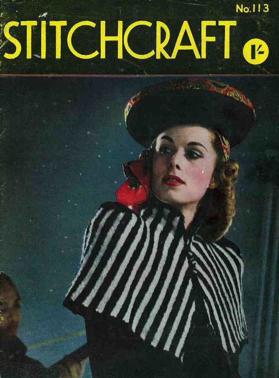 Stitchcraft Magazine 113, World War Two issue, c. early1940s - Vintage Knitting Pattern booklet PDF