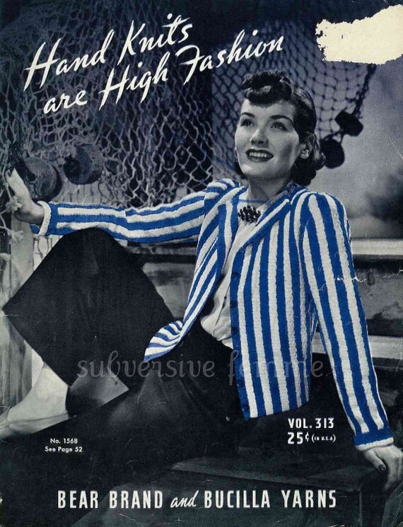 Handknits are High Fashion, 22 designs c.1939 - Vintage Knitting Pattern booklet PDF