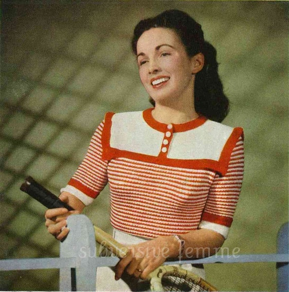 Cool and Fresh, women's yoked jumper and cardigan c. 1940s - vintage knitting pattern PDF (413)