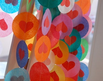 Tissue Paper Garland, Party Garland, Birthday Garland, Wedding Garland, Heart Garland, Rainbow Garland, Photo Backdrop - Rainbow Hearts