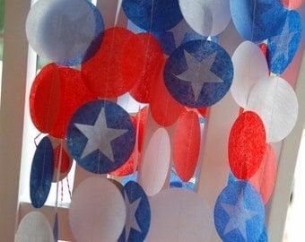 Tissue Paper Garland, Party Garland, Birthday Garland, Super Hero Garland, Fourth of July Garland - America