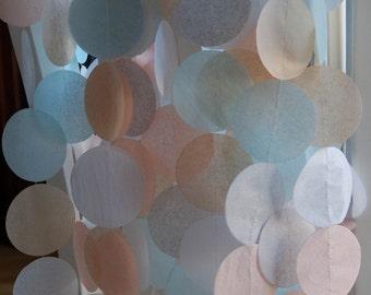 Tissue Paper Garland, Wedding Backdrop, Photo Backdrop, Party Garland, Birthday Garland, Wedding Garland- Seashell Hues
