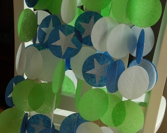 Tissue Paper Garland, Party Garland, Birthday Garland, Space Garland, Star Garland
