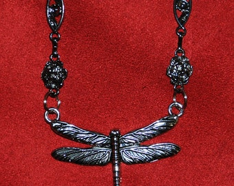 Dragonfly and Flowers 30 inches Long Metal Pewter-look Necklace