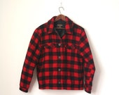 Spring Sale 32.00 // wool coat BUFFALO CHECK red & black WOOLRICH fleece lining . ladies m