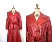 Reserved for S . vintage leather trench coat BURNT ORANGE rust  RETRO 1970's jacket