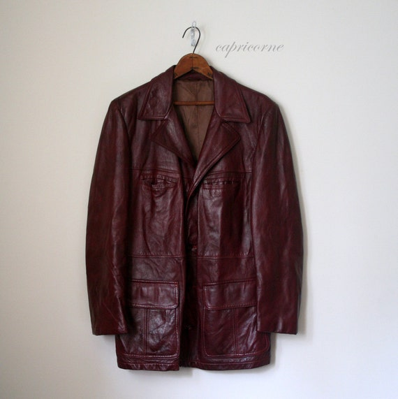 vintage mens sportcoat LEATHER JACKET retro 1970's OXBLOOD cordovan blazer . 44