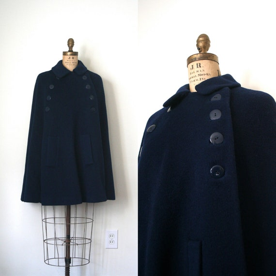 was 158.00 // 20% off Winter Sale // vintage cape NAVY BLUE wool MILITARY retro 1960's nurse swing peacoat . s