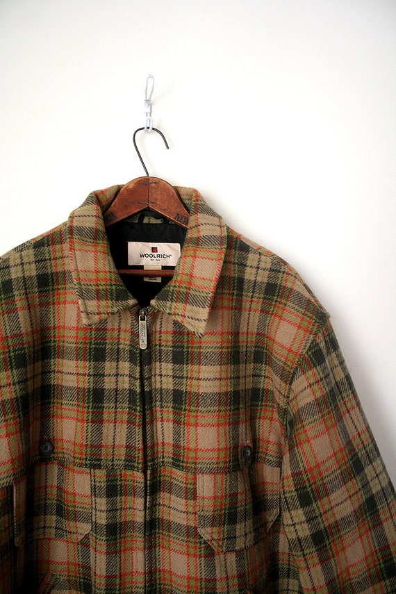 SALE // mens winter coat WOOLRICH olive plaid WOOL quilted lining . xl