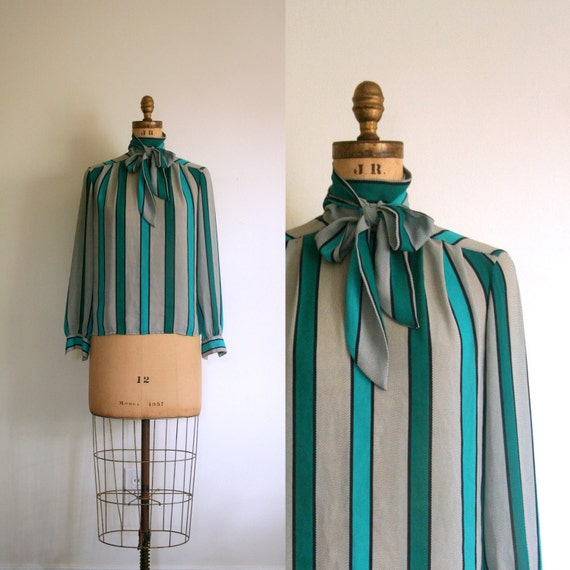 vintage bow blouse SECRETARY 1980's top STRIPED aqua INDIE geek chic