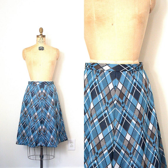 vintage skirt 1970's GEEK CHIC argyle LIBRARIAN blue & brown / polyester / A-line
