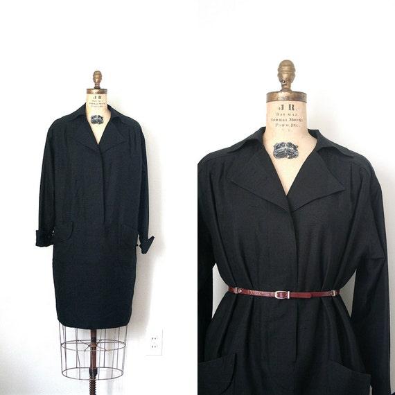 vintage shirt dress BLACK SILK oscar de la renta CHIC 1980's retro