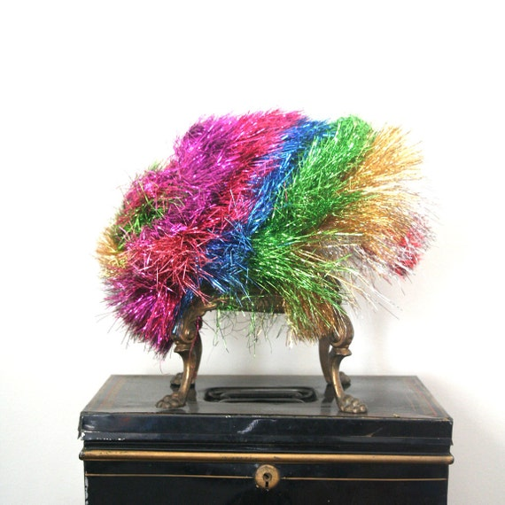 vintage tinsel wig METALLIC RAINBOW harajuku decora CYBER goth / clown