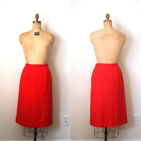 vintage skirt PENCIL / WIGGLE cherry red wool PENDLETON sexy librarian