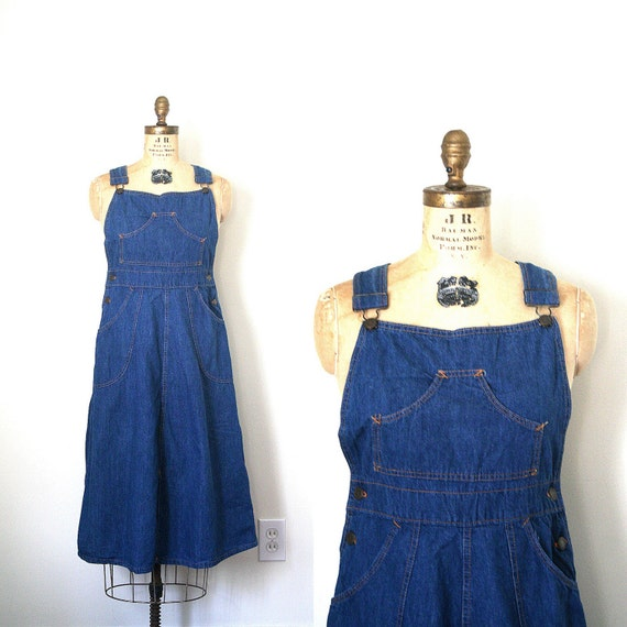 vintage denim dress BIB OVERALLS 1970's seventies HIPPIE folk