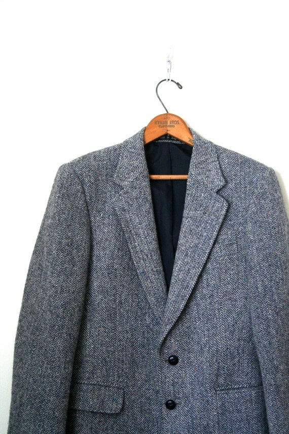 vintage sport coat / jacket HARRIS TWEED slate blue herringbone / smiths bermuda . 37R