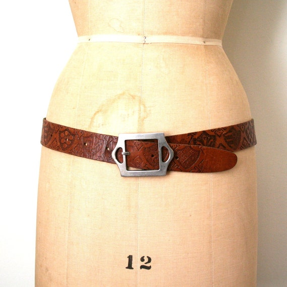 vintage 1970's belt HIPPIE brown leather SHIELD of ARMS embossed / tooled
