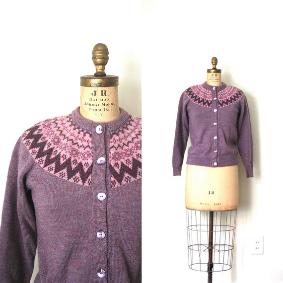 vintage cardigan sweater FAIR ISLE handknit wool TWEEDY plum and mauve