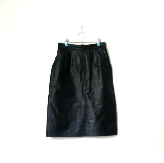 vintage pencil skirt BLACK LEATHER high waisted 1980's FORENZA eighties punk