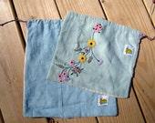 Repurposed 100 percent Linen drawstring bags