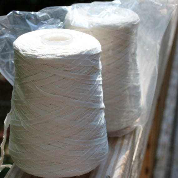 Wholesale-Ready to DYE, All cotton Ribbon yarn, 2 full cones
