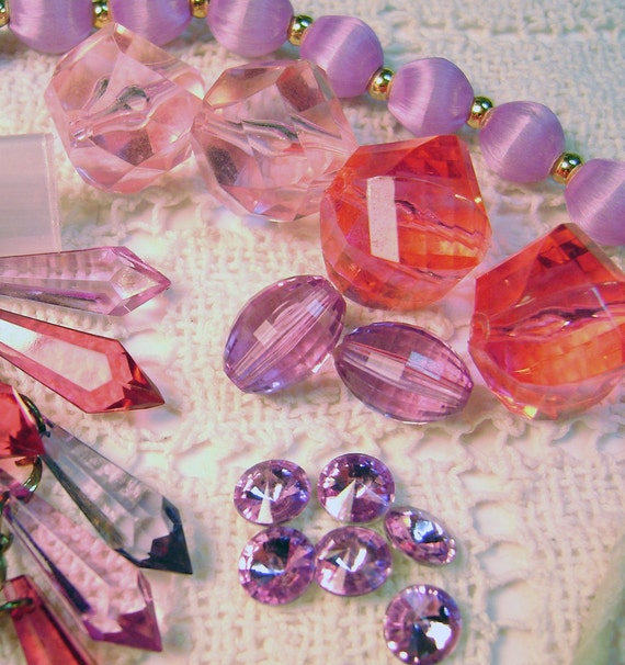 VIntage Jewelry Destash Lot Lavendar Pink Mix Perfectly Imperfect for Repurposing