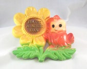 Vintage Chalkware Bird and Flower Have A Nice Day Wall Hanger Marked Miller