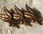 Vintage Copper Leaf Brooch Mid Century
