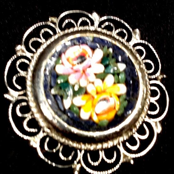Vintage Mosaic Brooch Micromosaic Italian Costume Jewelry Rare Beauty