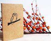 Owl on Branch Moleskine Pocket Size Journal Notebook using Hand Carved Design
